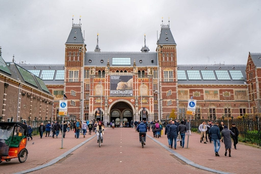 Entrance to Rijkmuseum as seen on a cloudy one day in Amsterdam