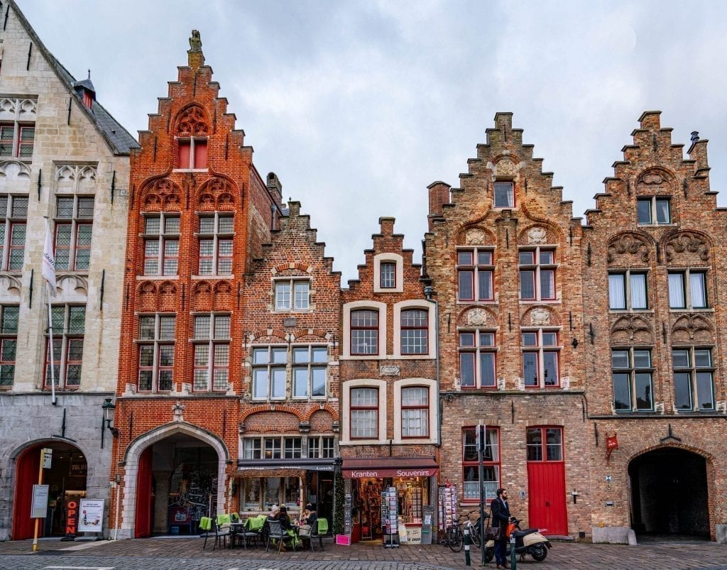 Facades of several typical Flemish buildings in Bruges Belgium, as seen on a day in Bruges