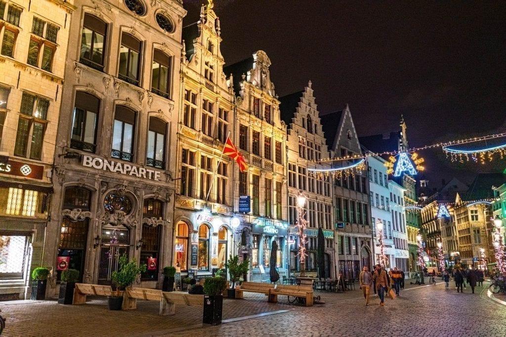 christmas lights in antwerp at night belgium december