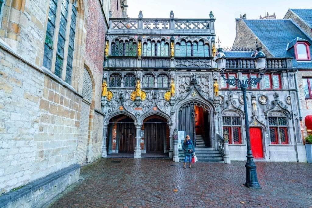Front facade of the Basilica of Holy Blood in Bruges Belgium, an essential stop on a one day in Bruges itinerary
