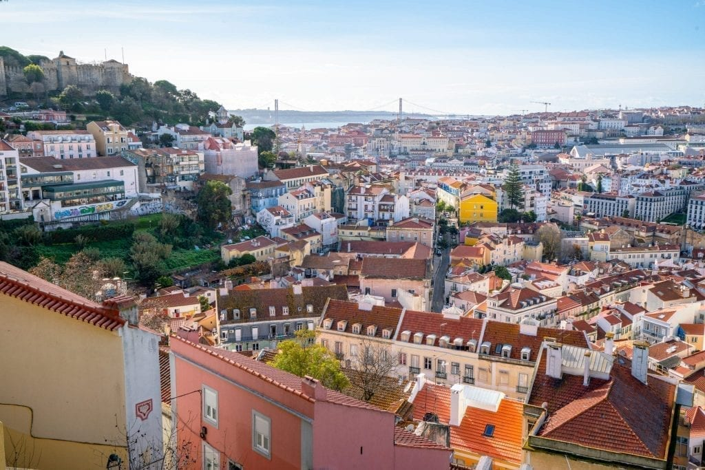 View of Lisbon Portugal from Mirodouro da Graca, a must-see viewpoint when experiencing Lisbon in a day