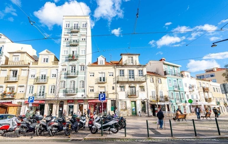 Tiled buildings in the Alfama District of Lisbon Portugal on a sunny day