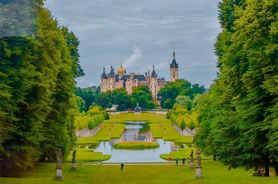Castle in Schwerin Germany as seen from across the gardens