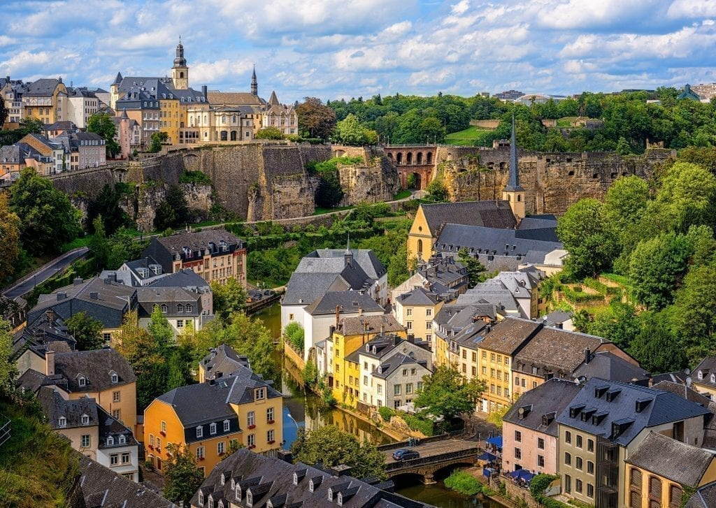 View of Luxembourg City from above. Luxembourg's small size makes it an ideal short European road trip itinerary