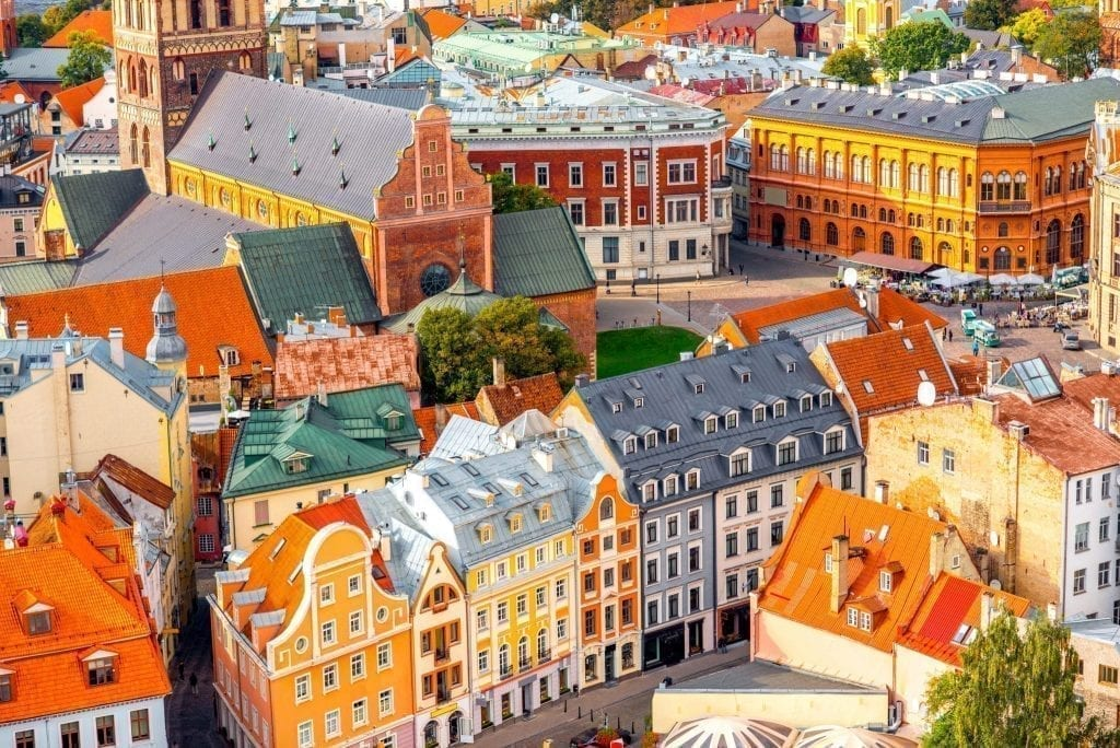 Colorful buildings of Riga Latvia as seen from above. Latvia makes a fabulous, lesser-known European road trip itinerary!