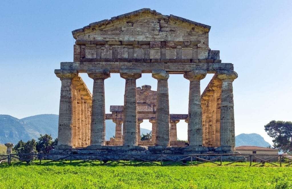 Temple of Athena as seen in Paestum Italy shot dead-on, as seen during a fun Europe road trip itinerary