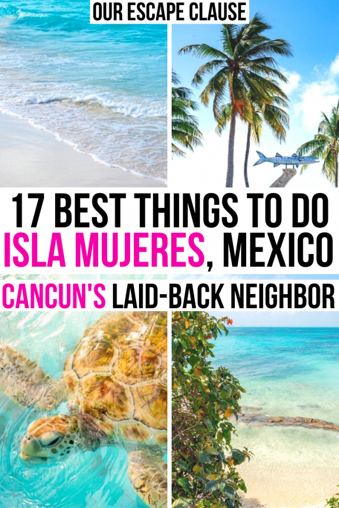 "4 photos of Isla Mujeres featuring Playa Norte, palm trees, and sea turtles. Black and pink text reads ""17 best things to do in isla mujeres mexico"""