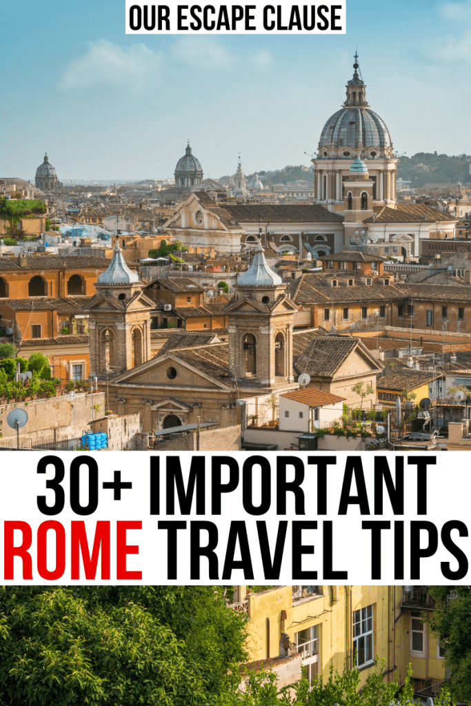 "Photo of Rome skyline as seen from Monti. Black and red text on a white background reads ""25 important rome travel tips"""