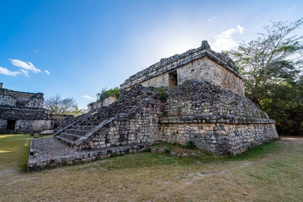 Small pyramid structure in ek balam yucatan peninsula with staircase on the left