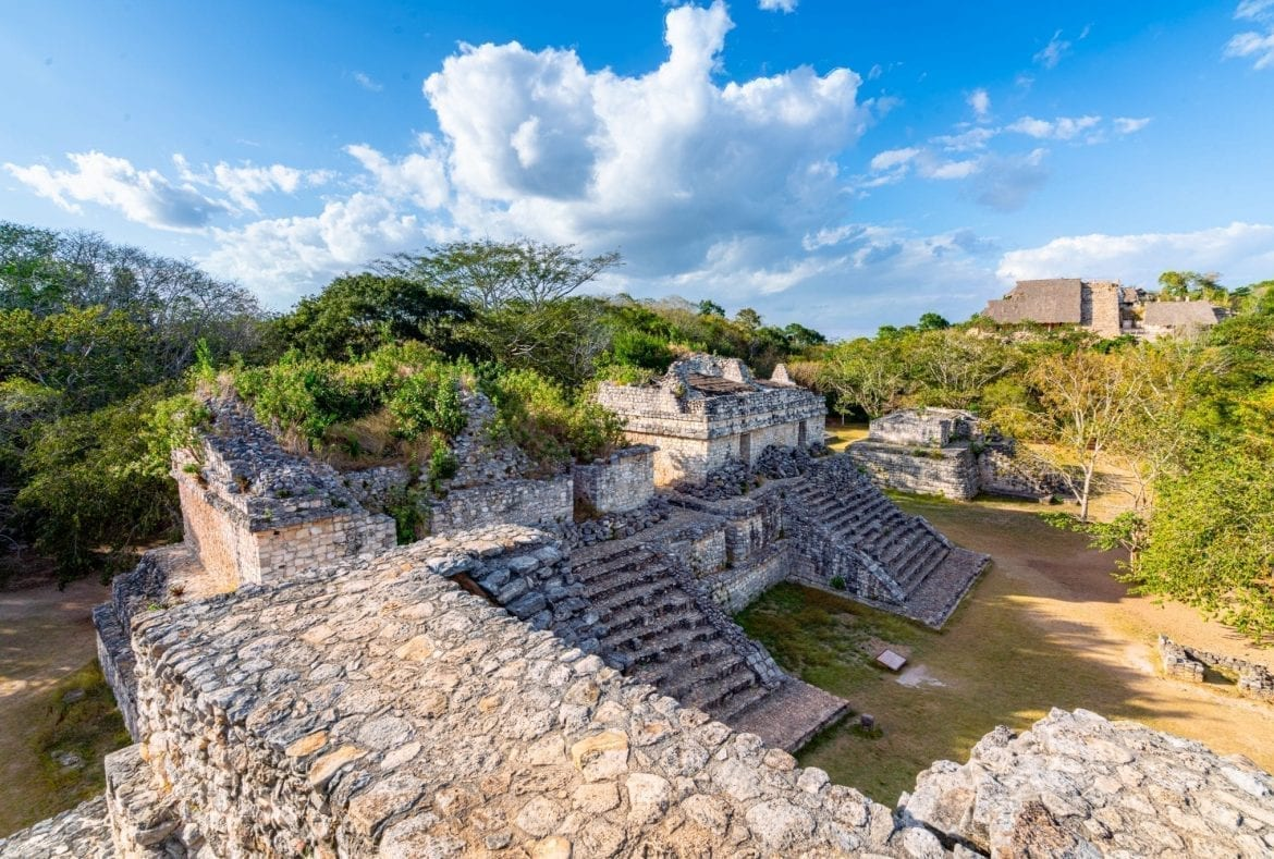 Ek Balam Mayan ruins as seen from above with el torre in the background