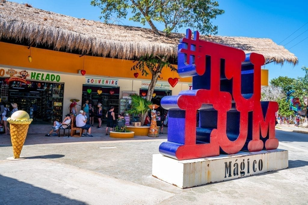 Souvenir Market with a colorful red Tulum sign in front of it in Mexico