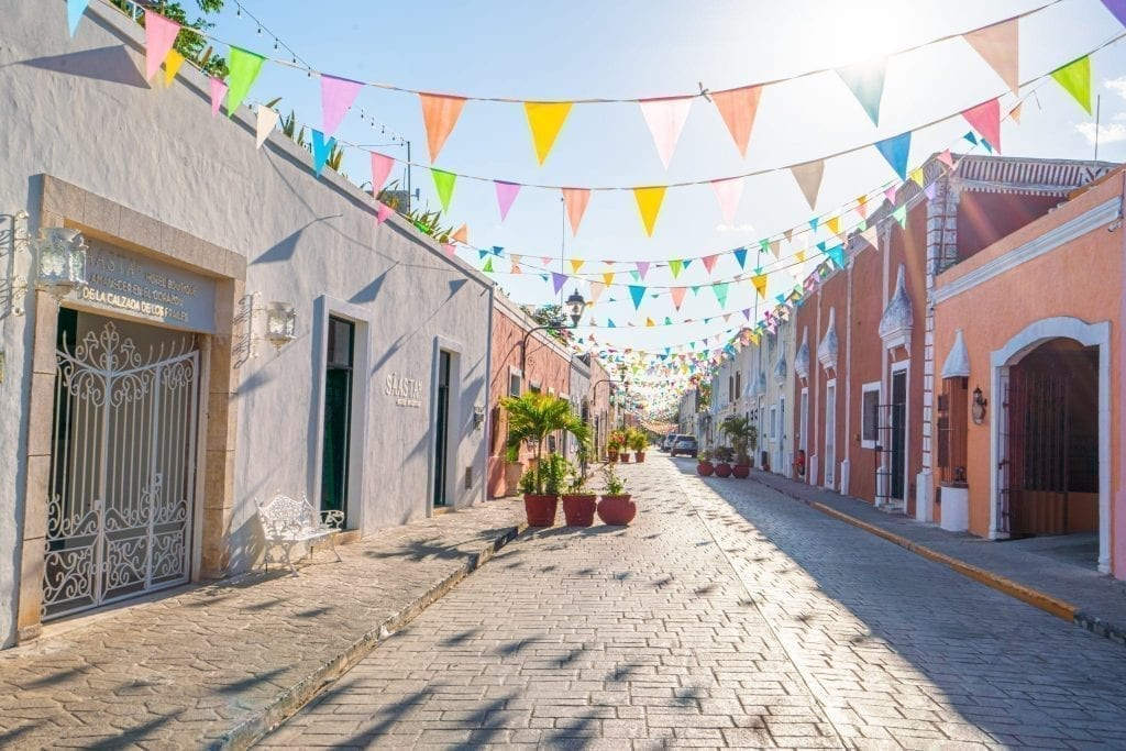 Colorful street in Valladolid Mexico as seen on a Yucatan road trip