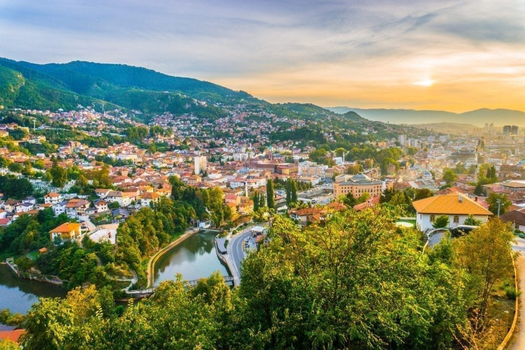 Sarajevo as seen from above near sunset. Sarajevo is one of the best hidden gems in Europe for travelers coming from a different continent!