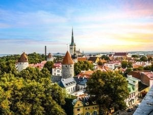 Cityscape of Tallinn at sunset, one of the best hidden gems in Europe