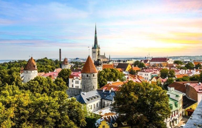 Cityscape of Tallinn at sunset, one of the best hidden gems in Europe