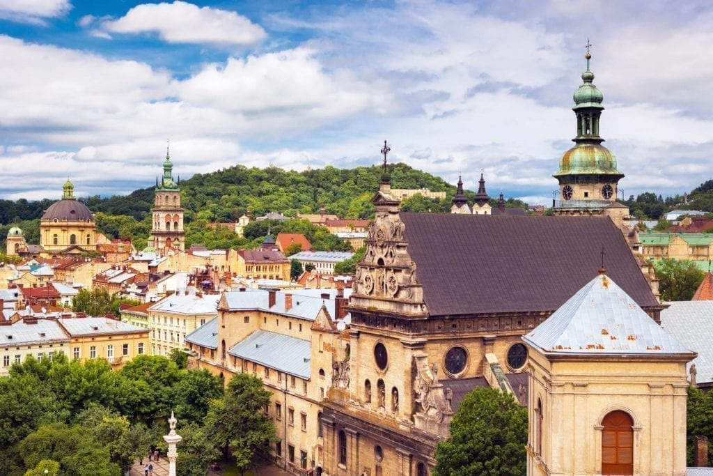 View of Lviv Ukraine from above, one of the best hidden gems in Europe to visit