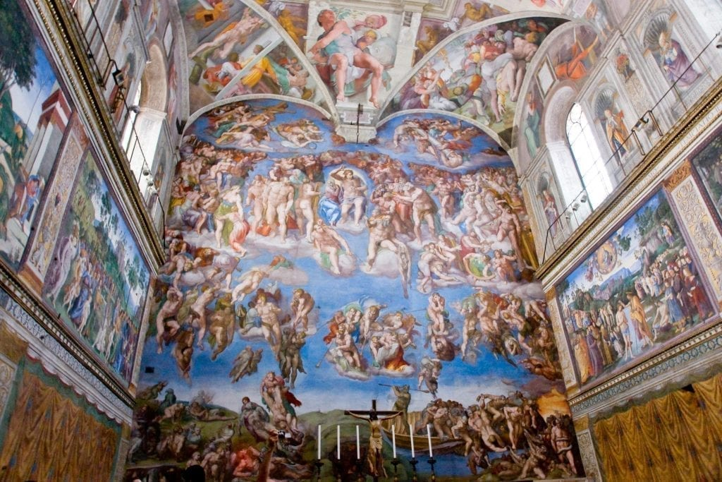 Fresco of the Sistine Chapel as painted by Michelangelo--there's no preparing for seeing this beauty in person when visiting the Vatican!