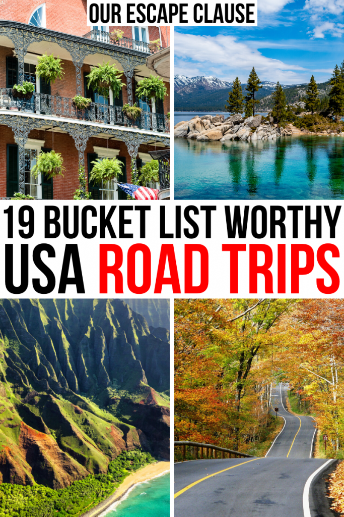 "photos from nola, lake tahoe, kauai, new england, black text on a white background reads ""bucket list worthy usa road trips"""
