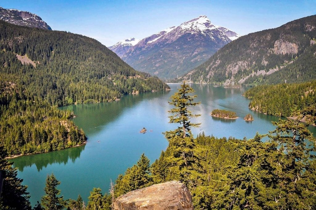 Lake Diablo in Washington State as seen from above--an excellent stop on a west coast road trip USA