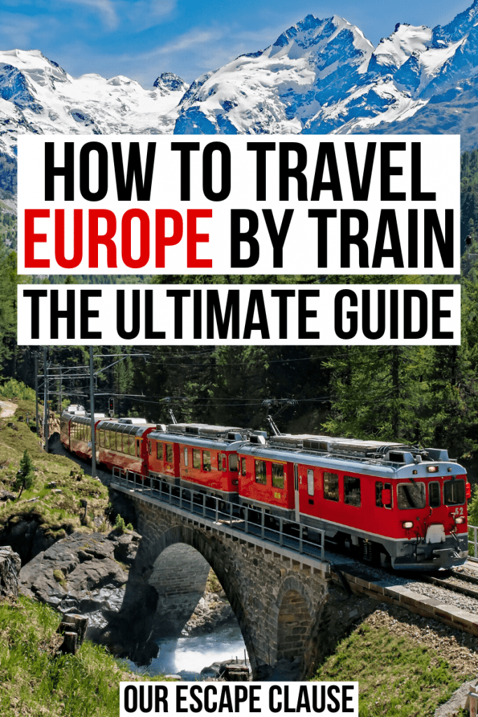 "Photo of a red train in Switzerland with mountains in the background, black and red text on a white background reads ""how to travel europe by train the ultimate guide"""