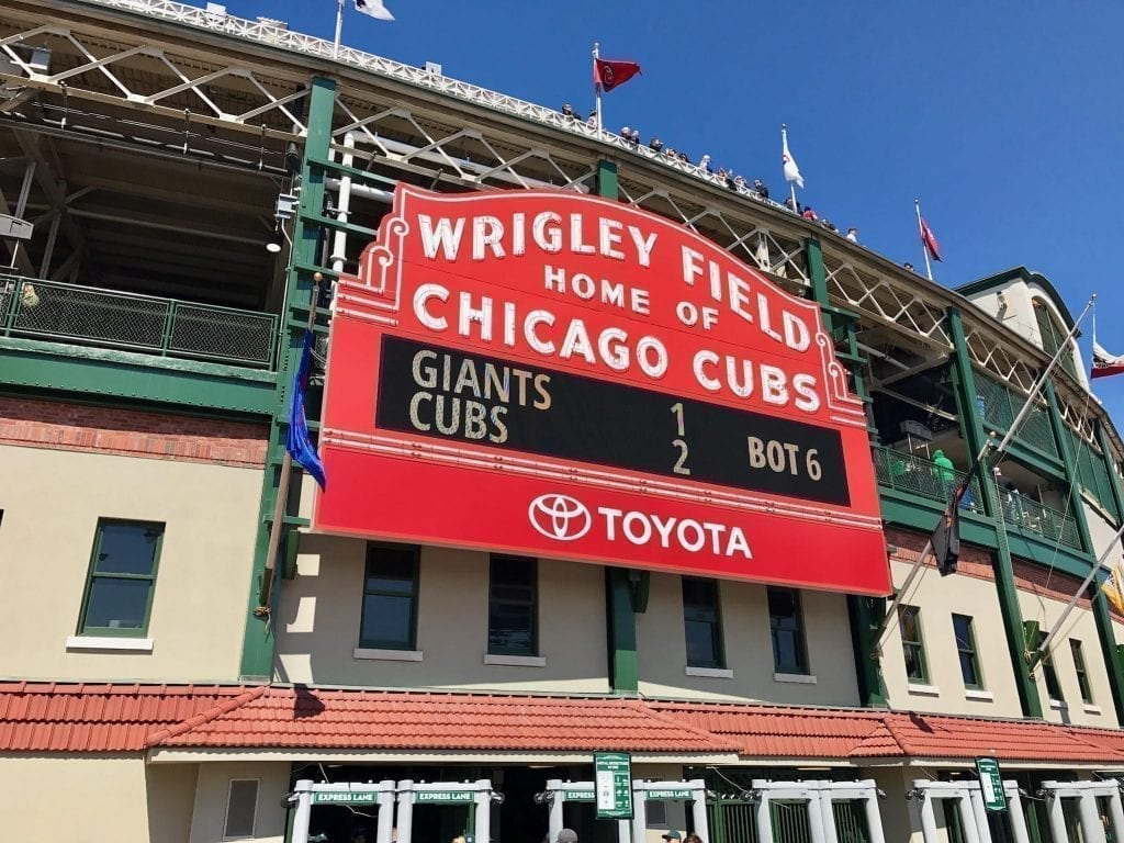 Wrigley Field scoreboard in Chicago Illinois