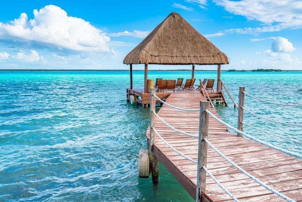 Overwater deck overlooking Bacalar lagoon, one of the best places to visit Yucatan road trip