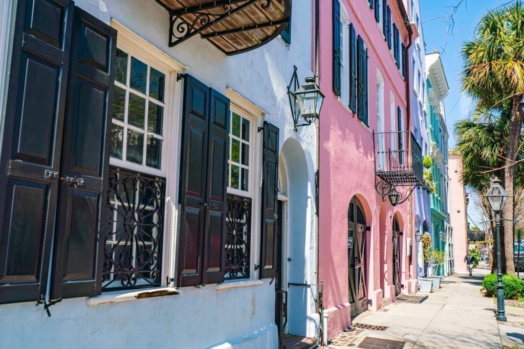 Rainbow Row in as seen during 3 days in Charleston SC