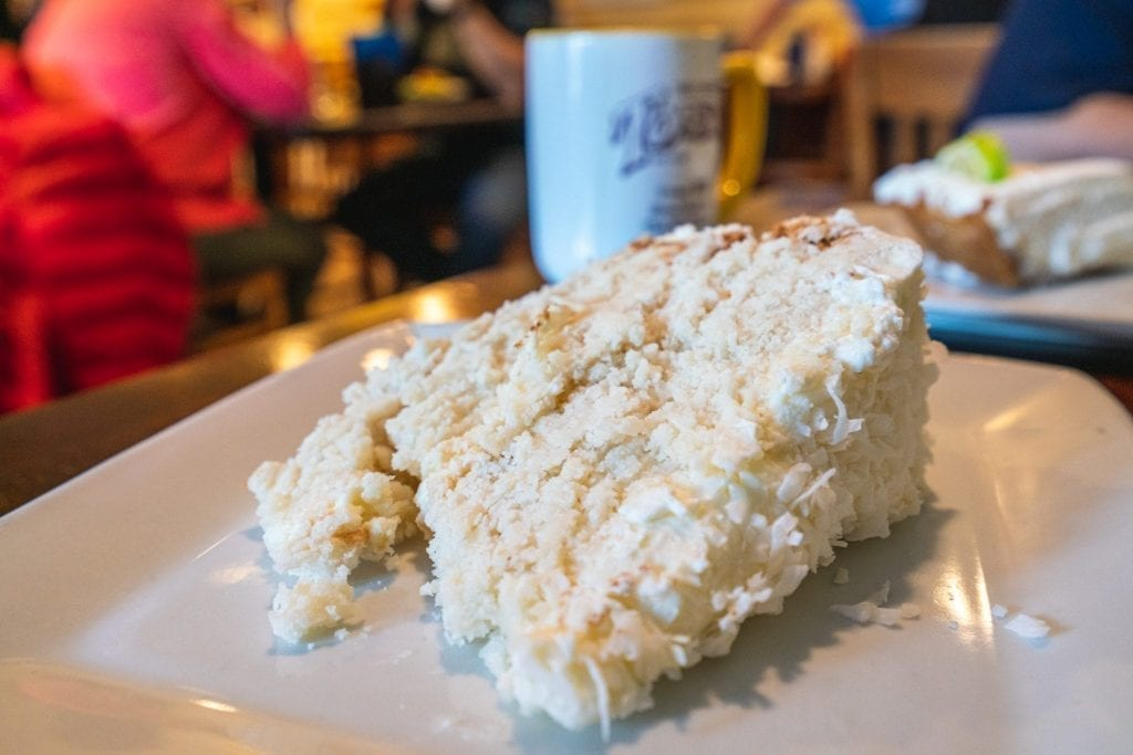Slice of coconut cake from Toast in Charleston South Carolina