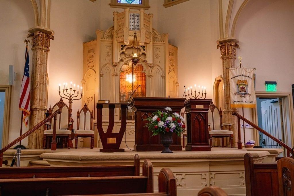 Altar at Congregation Mickve Israel as seen during 3 days in Savannah GA