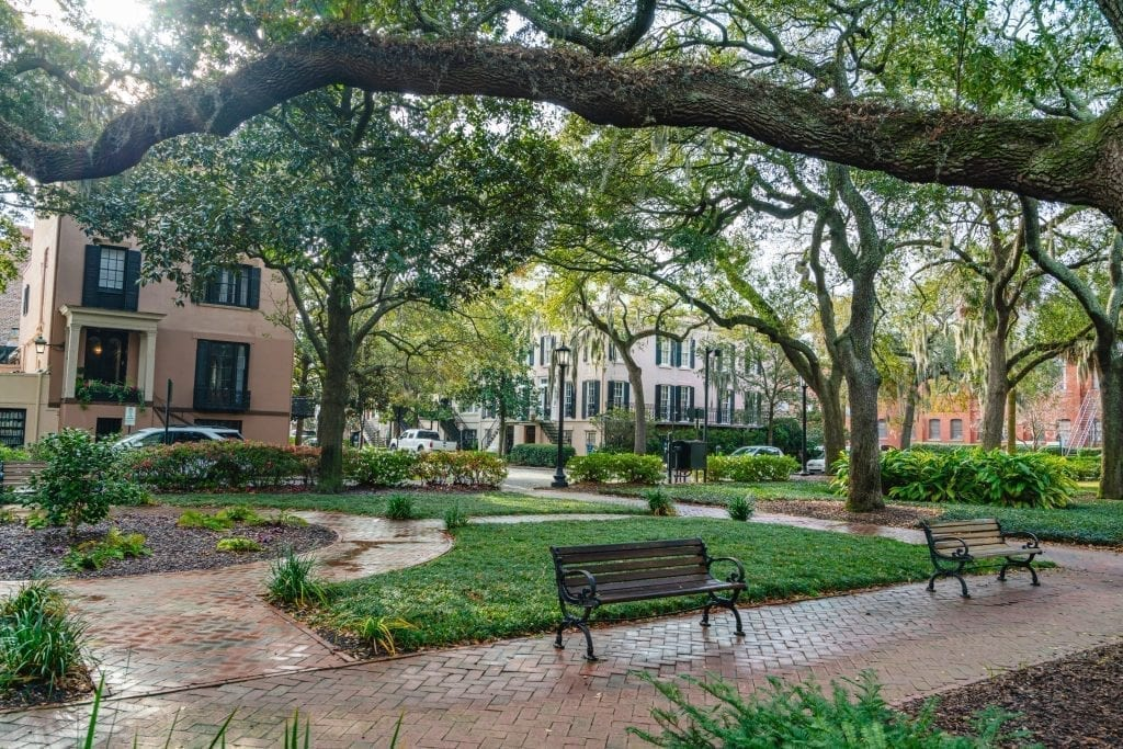 Shaded square in Savannah GA with a bench sitting under an oak tree as seen during a Savannah weekend vacation