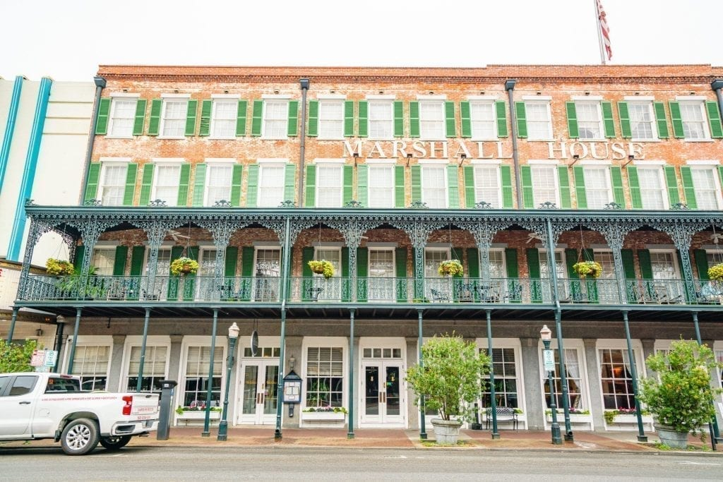 Front facade of The Marshall House on Broughton Street in Savannah GA