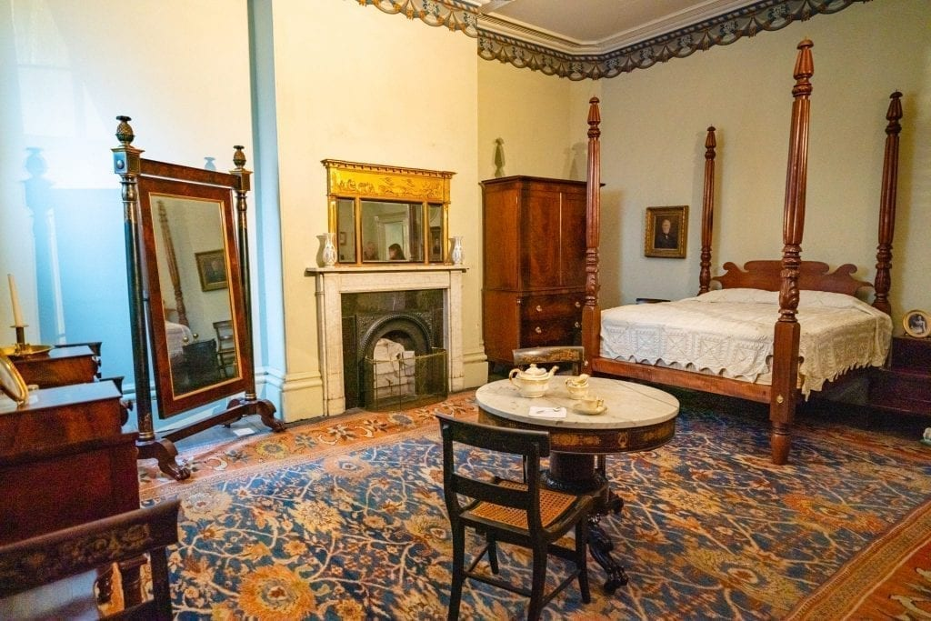 Ground floor bedroom in Owens-Thomas House and Slave Quarters, as seen on long weekend in Savannah GA
