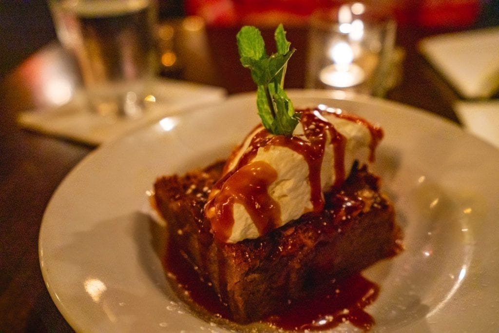 Bread pudding from The Public, one of the best restaurants in Savannah GA