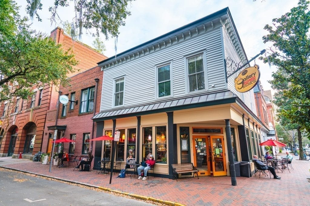 Exterior of Gallery Espresso, one of the best coffeeshops in Savannah Georgia
