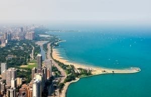 View of Chicago skyline from above with Lake Michigan visible to the right