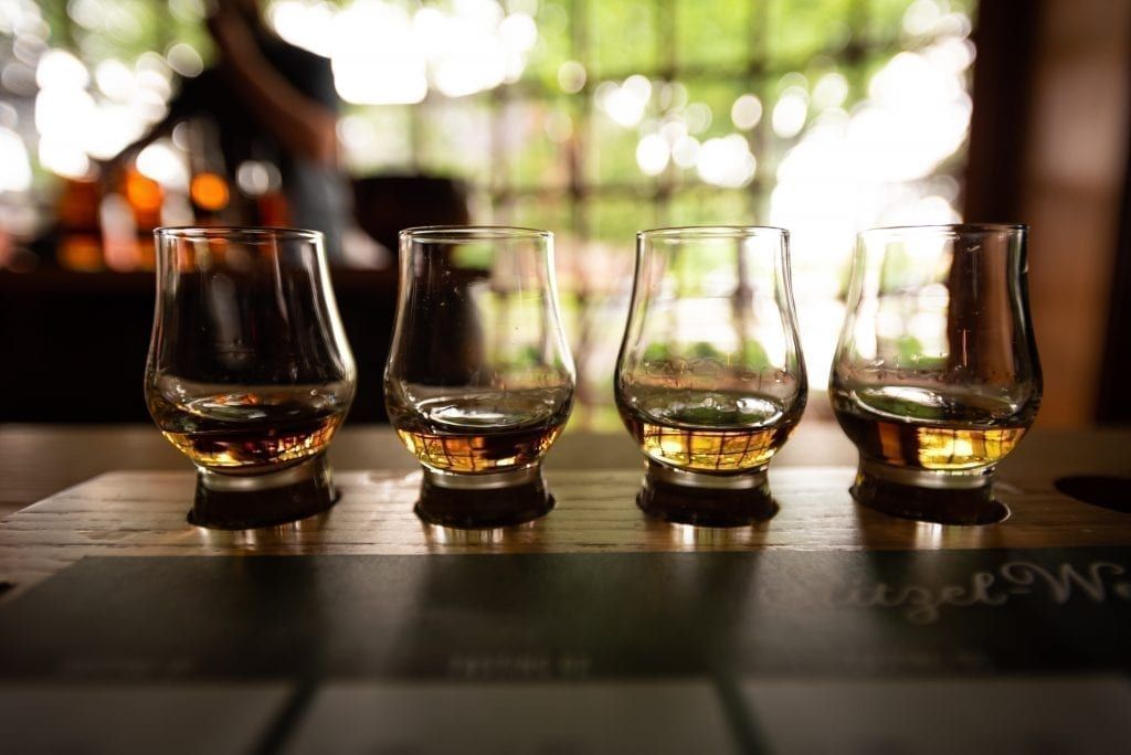 Flight of Bourbon--you'll see plenty of these if you take one of the best us road trips in the south, the kentucky bourbon trail