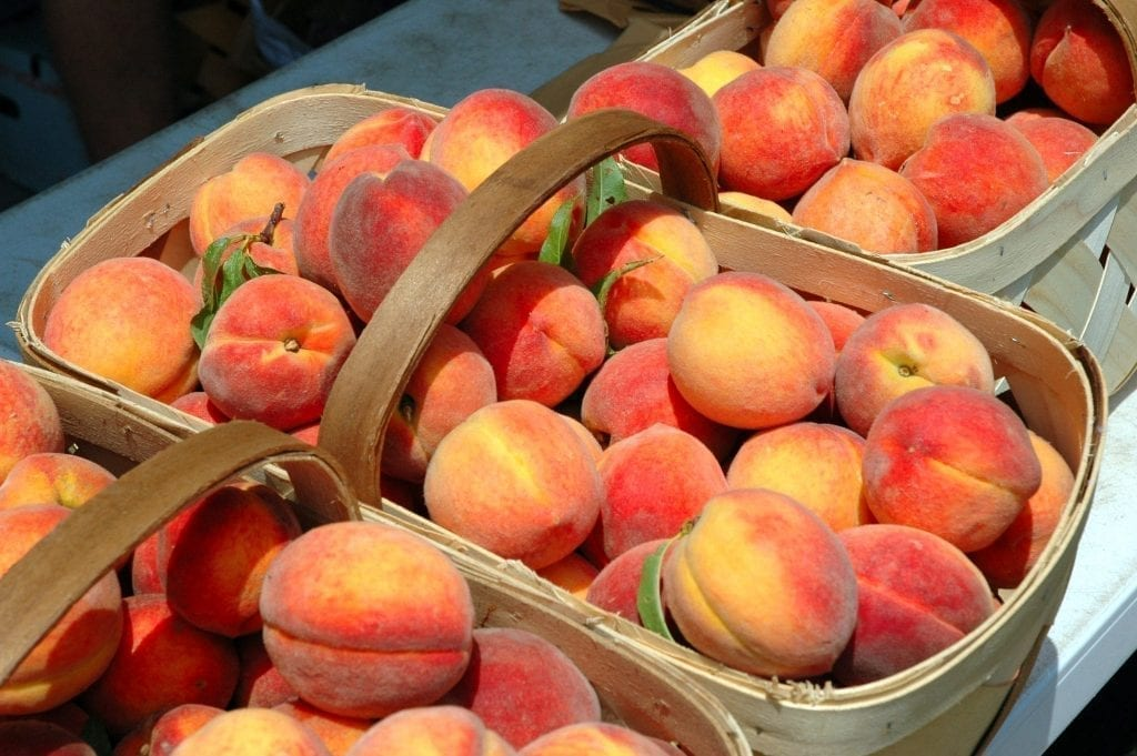Peaches in wicker baskets as is common at roadside stands in the south. Be sure to add plenty of peaches to your list of food in Savannah to eat!