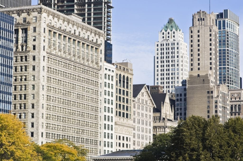Office buildings along Michigan Avenue in Chicago Illinois--don't miss a chance to walk down the Magnificent Mile during your 3 days in Chicago sightseeing trip
