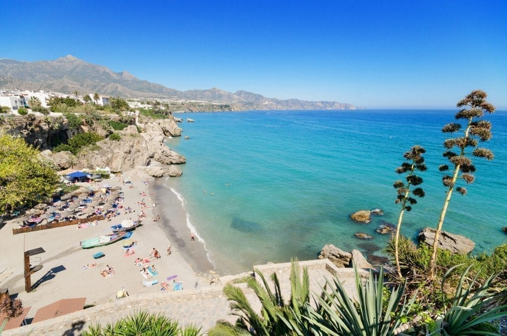 Nerja Beach in Andalucia Spain from above, one of the best summer destinations in Europe