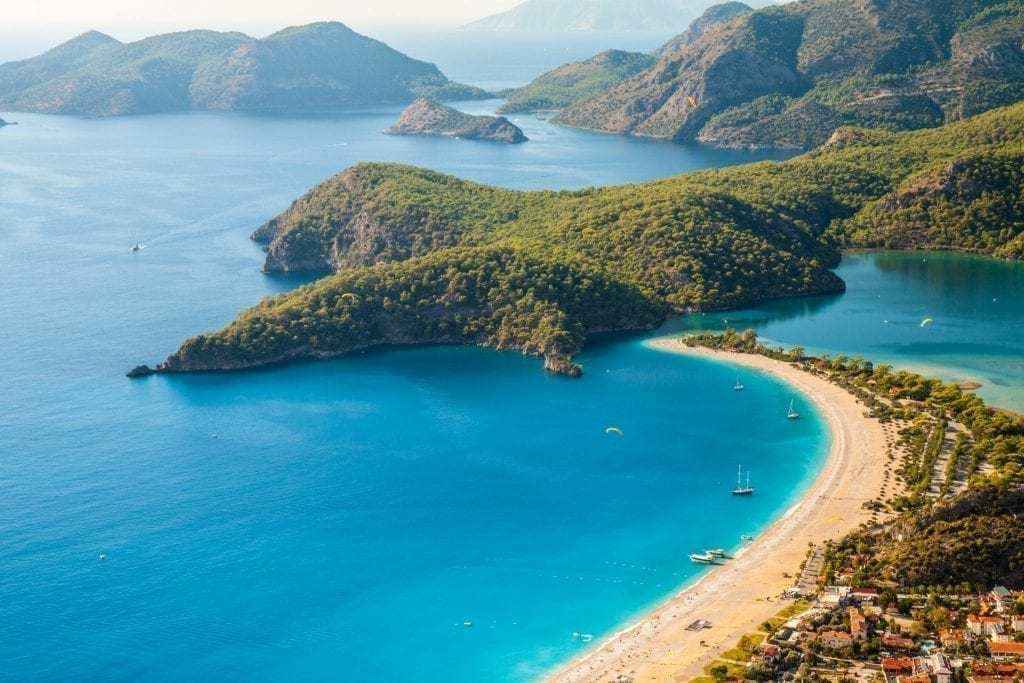 Beach of Oludeniz on Turkey's Turquoise Coast from above, one of the best places to visit in Europe in summer
