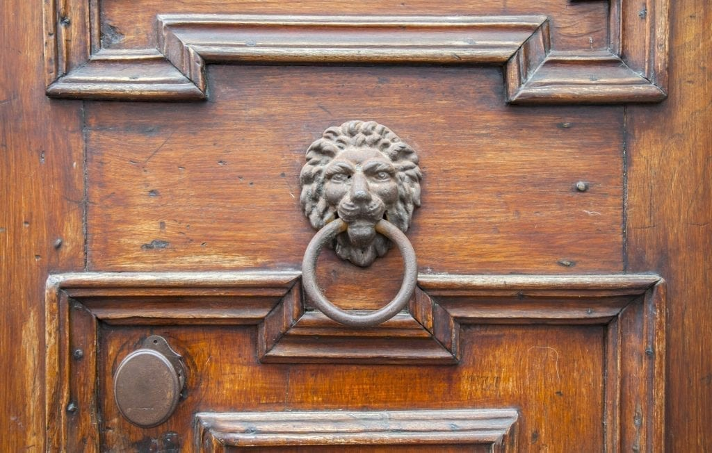 Lion head door knocker in Italy, one of the most unique souvenirs from Italy