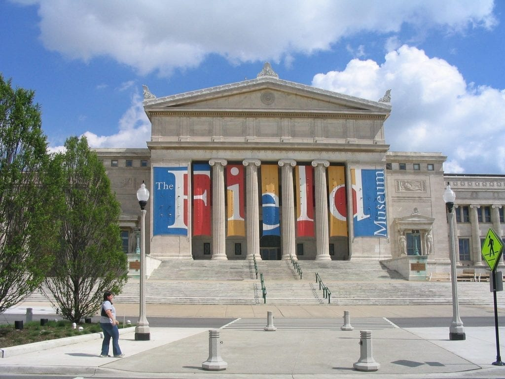 Exterior of Field Museum in Chicago Il as seen from the front--consider paying a visit here during a Chicago weekend getaway!