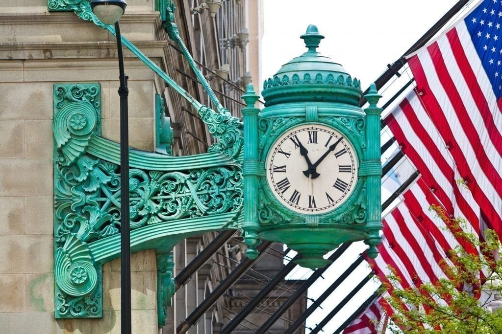Macy Clock on Randolph and Street Street in Chicago Illinois