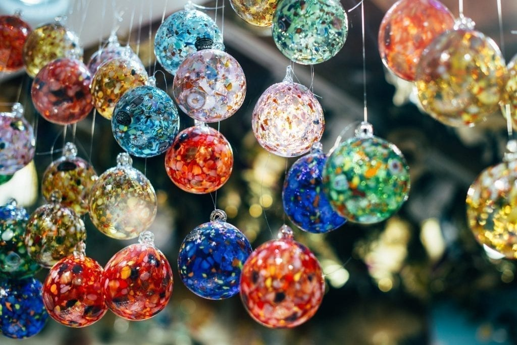 Colorful Murano glass balls, a definite contender for the best things to buy in Italy
