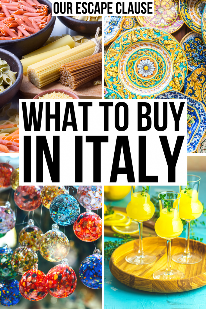 "4 photos of Italy souvenirs: dried pasta, ceramic plates, murano glass, limoncello. Black text on a white background reads ""what to buy in Italy"""