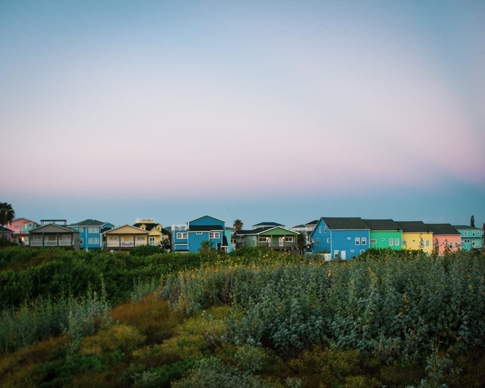 Colorful town of Port Aransas at sunset