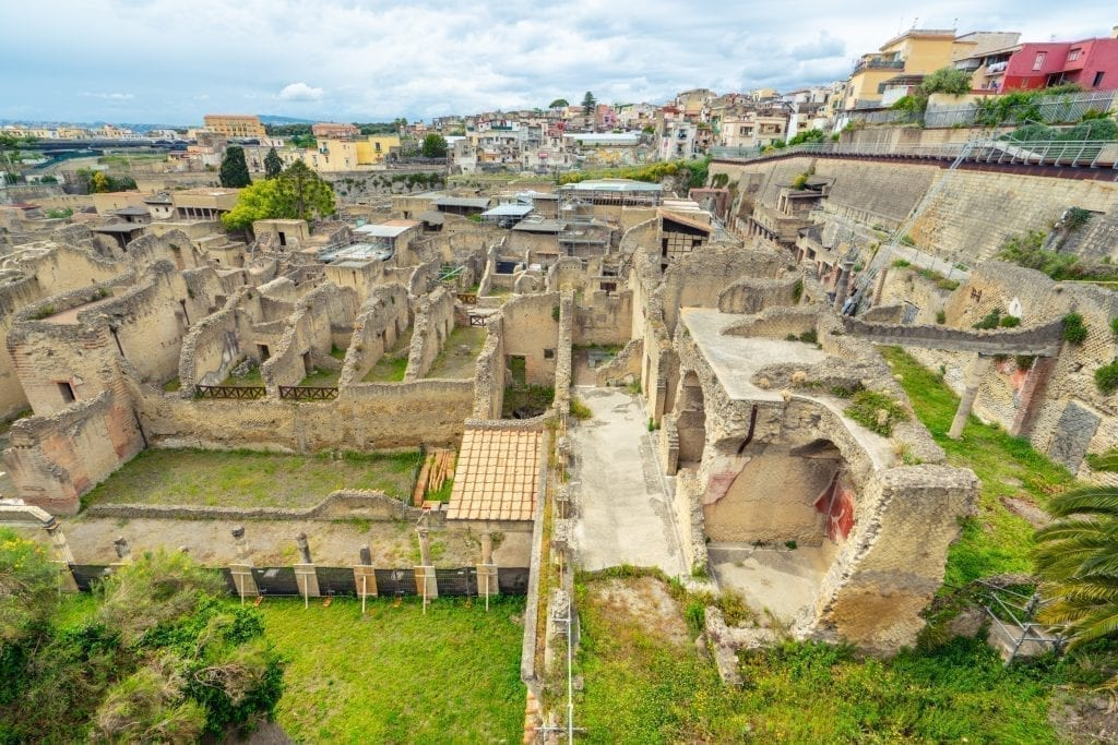 View of Herculaneum Italy from above--on of these Italy interesting facts is that Pompeii is far from the only city destroyed by Mount Vesuvius