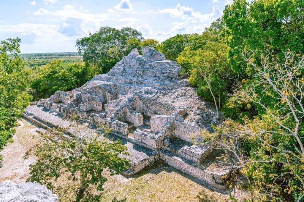 Mayan Pyramid in Rio Bec style as seen from above in Becan Mexico