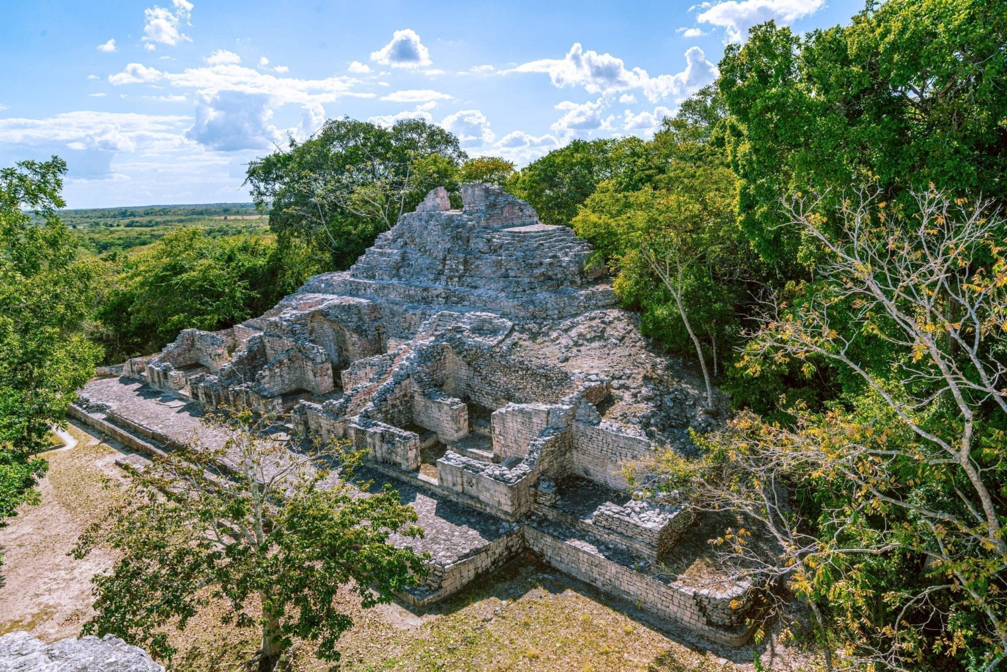 mayan pyramid in becan as seen from above, one of the best places to go backpacking mexico