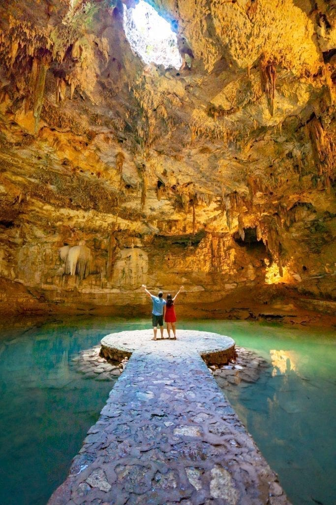 kate storm and jeremy storm in cenote suytun, one of the best cenotes near valladolid